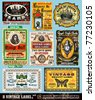 Vintage Labels Collection - 8 design elements with original antique style -Set 18 - stock vector