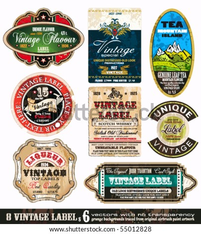 Vintage Labels Collection - 9 design elements with original antique style -Set 6 - stock vector