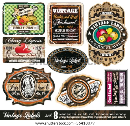 Vintage Labels Collection - 8 design elements with original antique style -Set 8 - stock vector