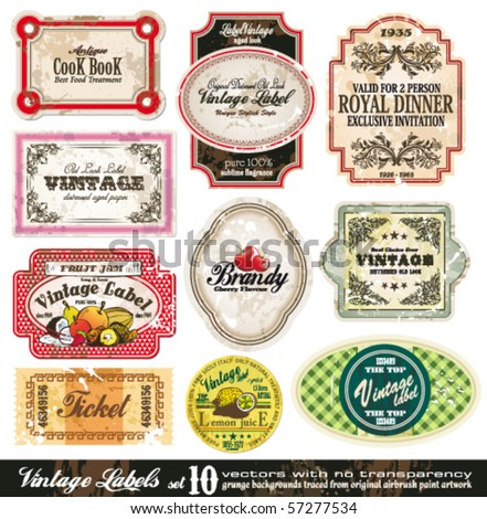 Vintage Labels Collection - 10 design elements with original antique style -Set 10 - stock vector