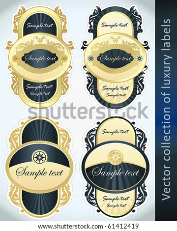 Vintage Labels Collection for a product_3. Sticker template with design elements Set of blue golden vector illustration tags. - stock vector