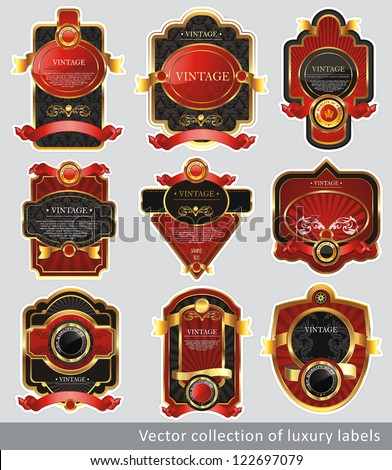 Vintage Labels Collection for a product. Sticker template with design elements. Set of chocolate golden vector illustration tags. - stock vector