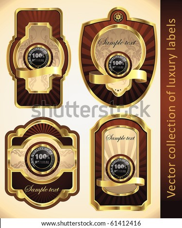 Vintage Labels Collection for a product_1. Sticker template with design elements. Set of chocolate golden vector illustration tags. - stock vector