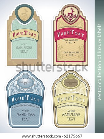 Vintage Labels Collection for a product. Sticker template with design elements Set of decorative vector illustration tags. - stock vector