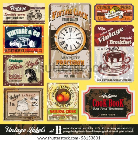 Vintage Labels Collection - nine design elements with original antique style -Set 11 - stock vector