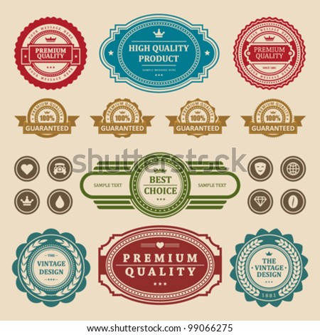 Vintage labels collection retro style set. Vector design elements. - stock vector