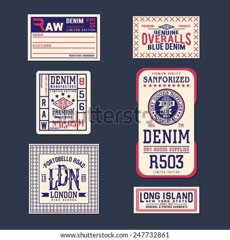 Vintage Labels denim typography, t-shirt, vectors, carton, emblems set  - stock vector