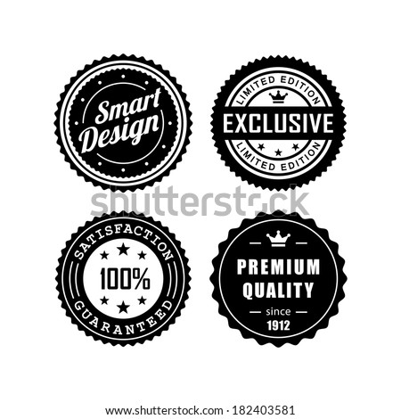 Vintage labels, exclusive, premium quality, satisfaction guaranteed, smart design - stock vector