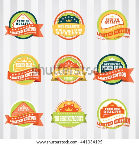 Vintage labels for commerce and premium trade vector set. Retro badges vector set for internet commerce. Vector set of labels for promotion premium goods. - stock vector