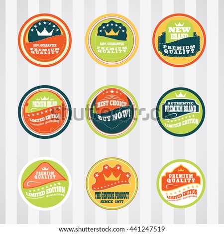 Vintage labels for commerce and premium trade vector set with stitching. Retro badges vector set for internet commerce with stitching. Vector set of labels for promotion premium goods. - stock vector