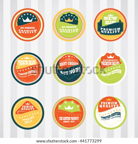 Vintage labels for commerce and premium trade with stitching vector set in pockets. Retro badges vector set for internet commerce with stitching in pockets. - stock vector