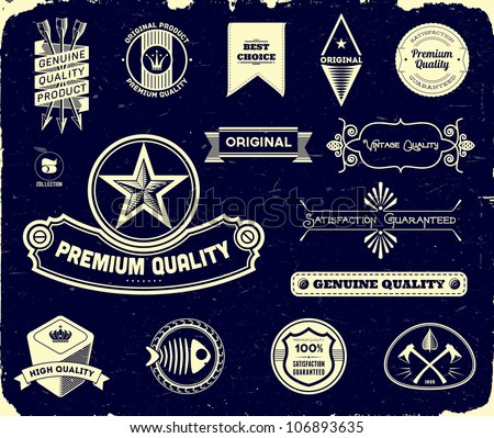 Vintage labels on the black. Collection 3 - stock vector