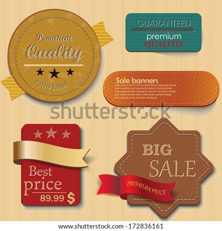 Vintage labels or badges and ribbon retro style set. Vector