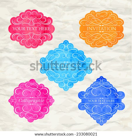 Vintage labels set, colorful frames, design elements - stock vector