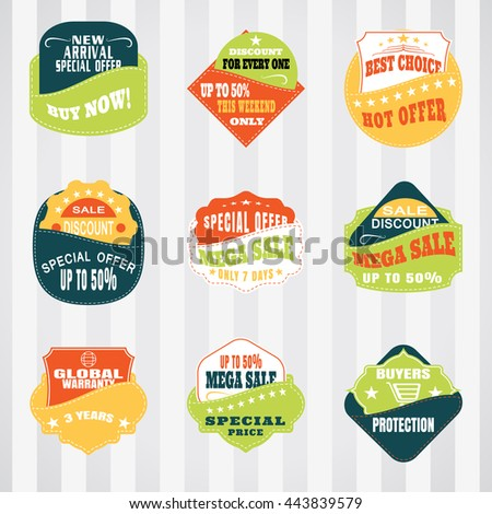 Vintage labels set for commerce and premium trade with stitching in pockets. Retro badges vector set for internet commerce with stitching in pockets. - stock vector