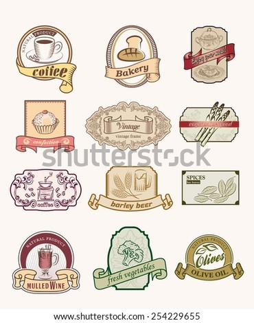 Vintage labels set. Hand drawn illustrations. labels with sketches