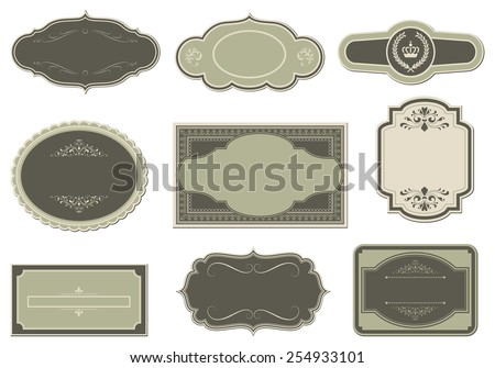 Vintage Labels - Set of vintage label designs.  Colors are global for easy editing. - stock vector