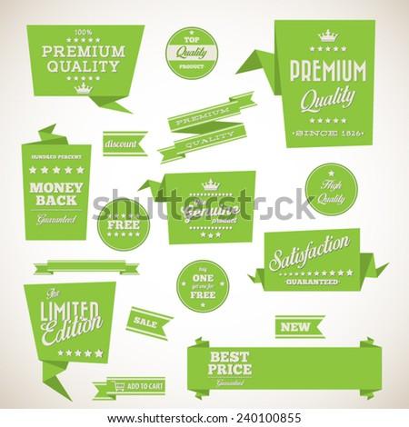 Vintage labels set - origami vintage labels set.Vector design elements - stock vector