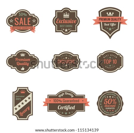 Vintage Labels set. Retro shields and stickers such a logo.  Ribbon and crown. Retro design. High quality. - stock vector