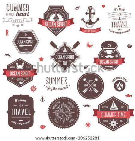 Vintage labels set. Summer and traveling collection. Vector illustration. Marine symbols.  - stock vector