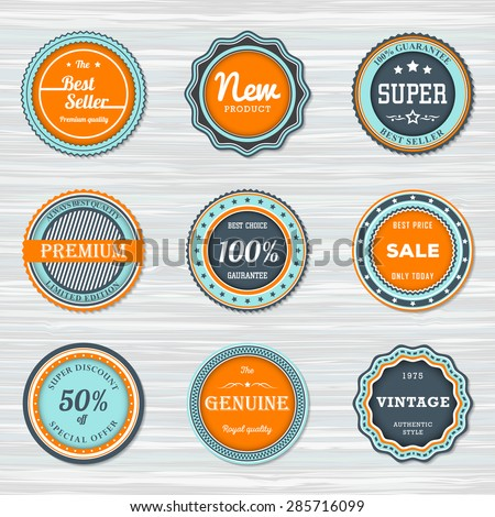Vintage labels template set: best seller, new, premium,sale, super. Retro badges for your design on wooden background. Vector illustration - stock vector