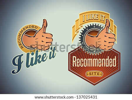 Vintage labels with a thumb up cartoon symbol. Editable vector illustration. - stock vector