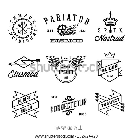vintage labels with anchor, crown, arrow, wing - stock vector