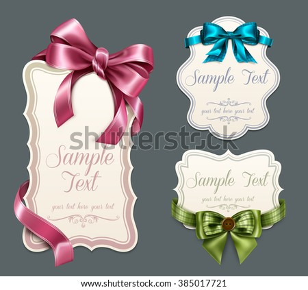 Vintage labels with bows - stock vector