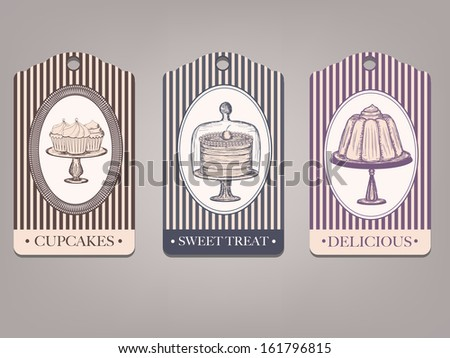 vintage labels with desserts - stock vector