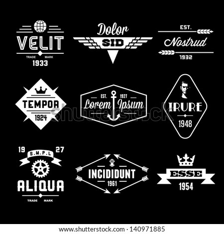 vintage labels with globe, crown, arrow, gear - stock vector