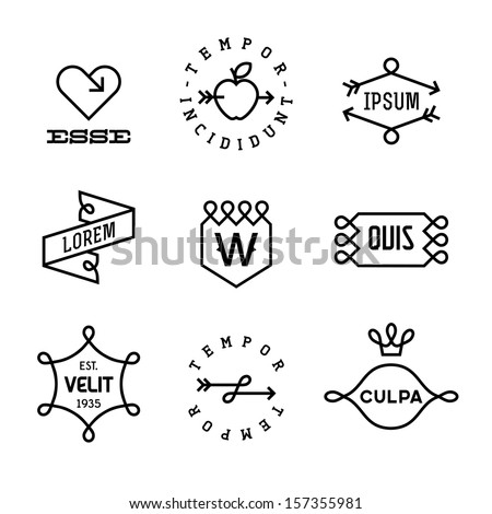 vintage  labels with heart, arrow, apple - stock vector