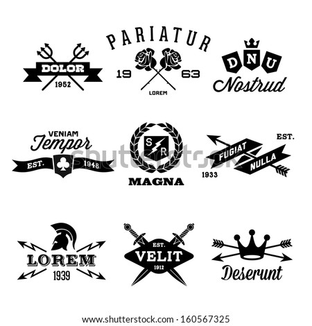 vintage labels with shield, crown, arrow, helmet - stock vector