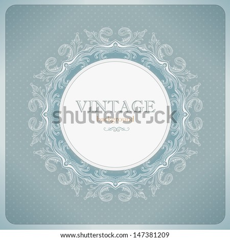 Vintage lace background in blue tones - stock vector