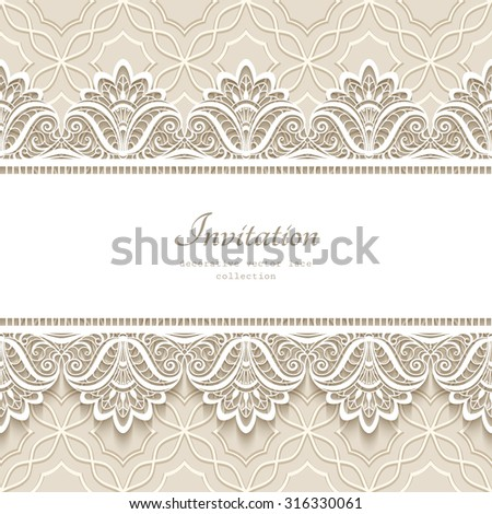 Vintage lace background with seamless border ornament, elegant greeting card or wedding invitation template, vector eps10 - stock vector