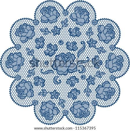 Vintage lace element, ornamental flowers. Vector texture. - stock vector