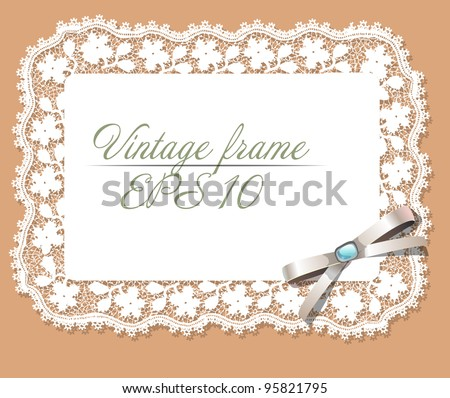vintage lace frame. EPS 10 - stock vector