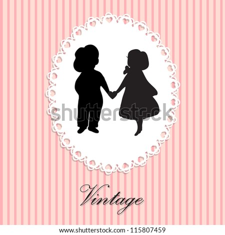Vintage lace frame with silhouette of two cute babies on the love date - stock vector
