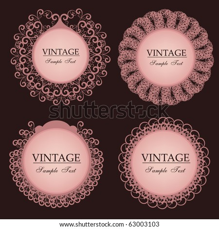 vintage lace frames - stock vector