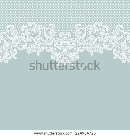 Vintage lace invitation card. White vector lace on texture, template. - stock vector
