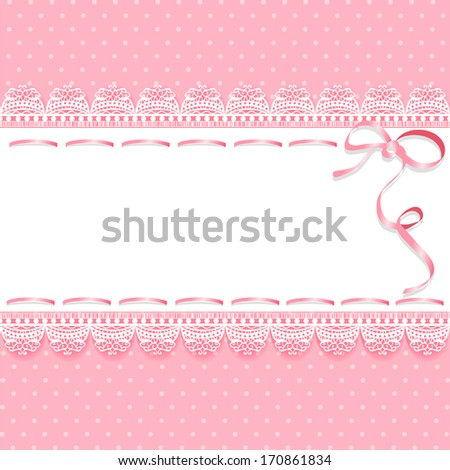 Vintage Lace Pink Background With Ribbon Vector Illustration