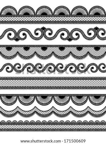 Vintage lace seamless border for invitation or greeting card
