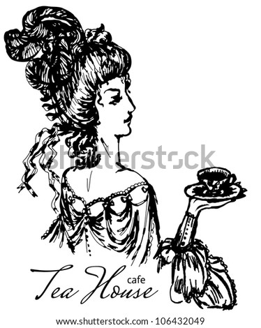 vintage lady engraving - stock vector
