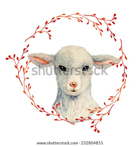 Vintage lamb portrait inside floral wreath. Watercolor sheep illustration in vector - stock vector
