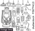 Vintage lamp set - stock vector