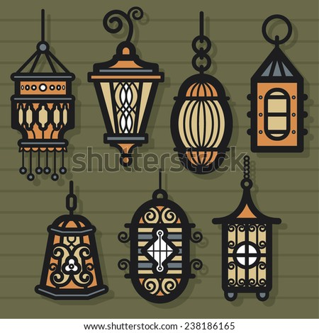 Vintage Lantern - stock vector