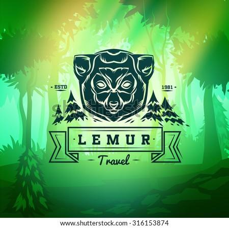 retro design graphic design vintage lemur labels retro vector design stock vector 316153874