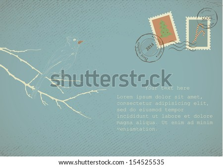 Vintage letter on old paper with retro post stamps. For Christmas, New year holidays - stock vector