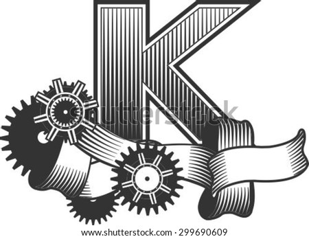 Vintage letter randomly drawn bars decorated with ribbons metal parts gears steam punk style, on a white background, letter K - stock vector