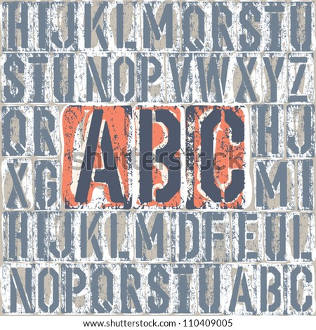 Vintage letterpress printing blocks alphabet. Grouped separately, vector, EPS8 - stock vector