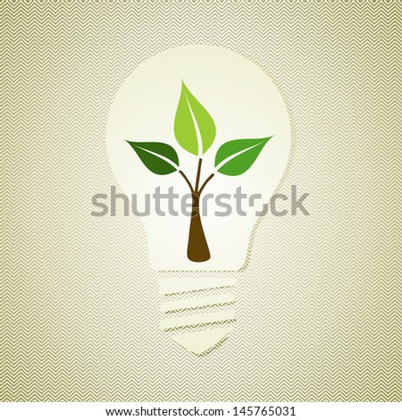 Vintage light bulb environmental hand drawn green tree. This illustration is layered for easy manipulation and custom coloring - stock vector